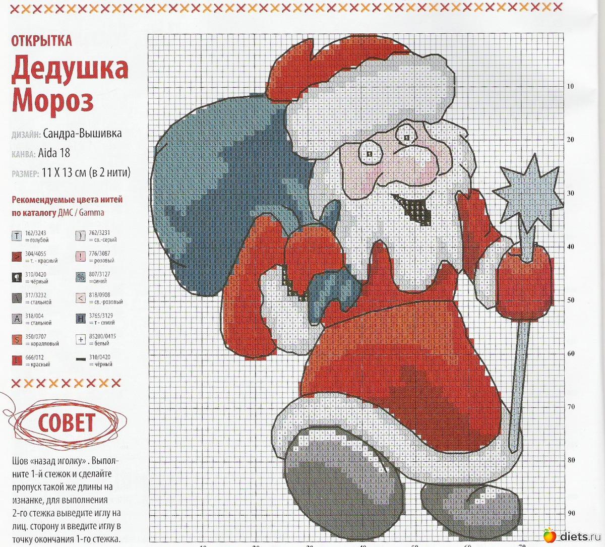 Вышивка крестом картин с изображением Деда Мороза 99