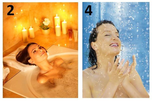 женщина купается в душе или в ванной