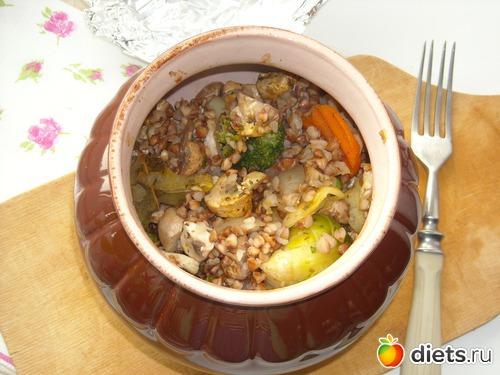 Гречка с грибами в горшочке фото рецепт