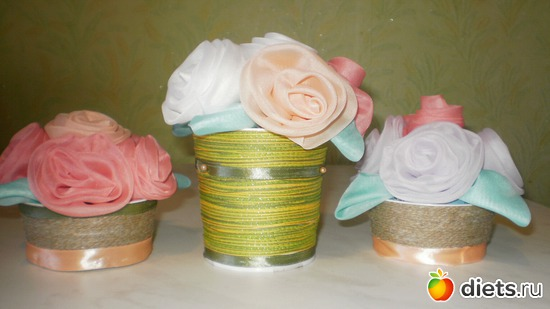 розы из ткани мастер класс.