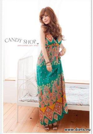 ...V-Collar Long Dress Green - Интернет магазин одежды из Китая М-О.