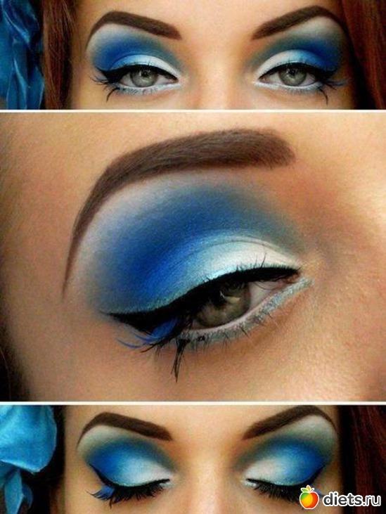 Макияж с голубым оттенком