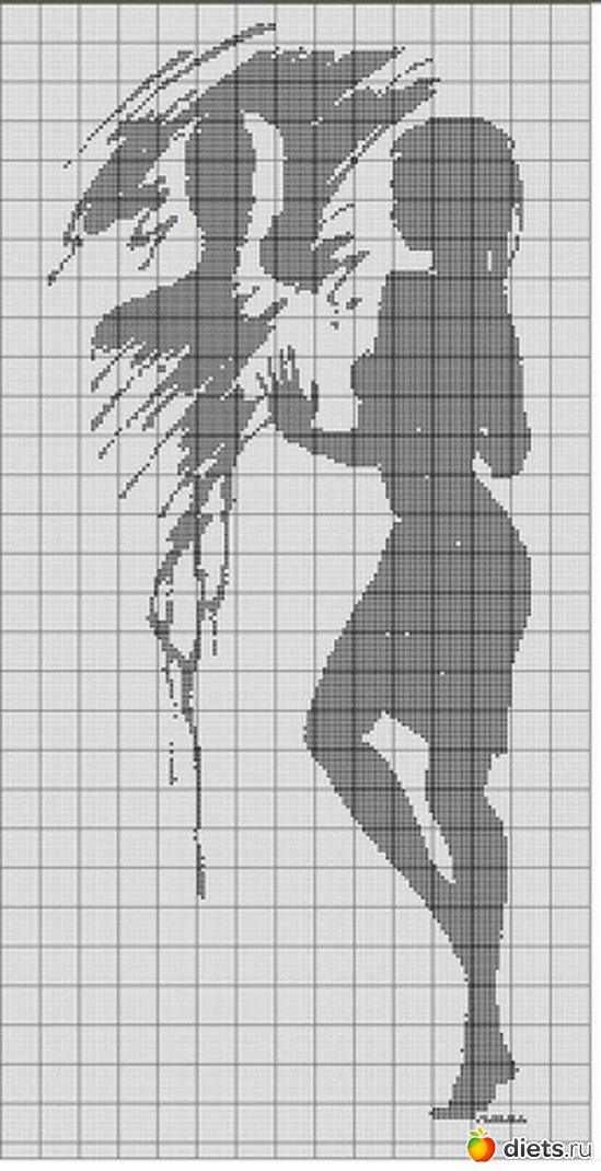 Вышивка силуэтов черно-белые