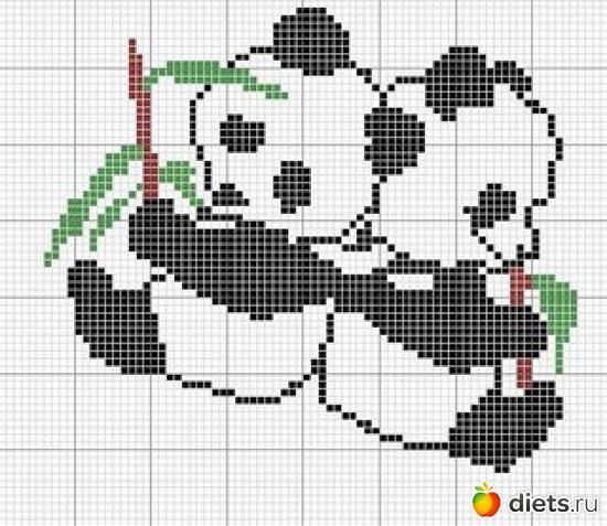 Схема вышивка крестом панда