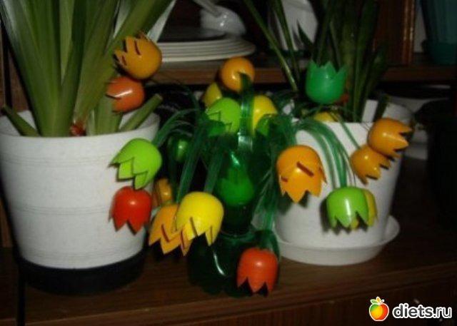 Поделки из киндер яиц для огорода