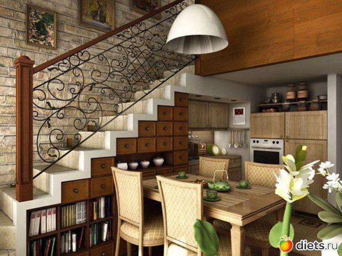 Дизайн кухни-студии с лестницей