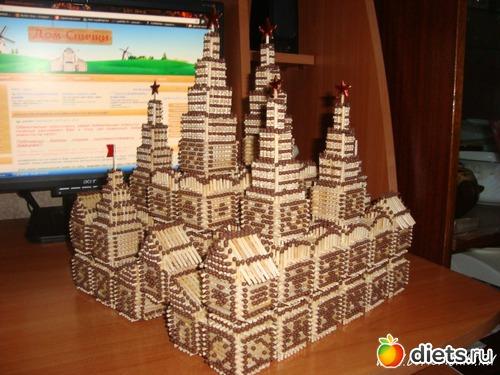 Спички.  Кремль из спичек!  Крепости и деревушки, замки.
