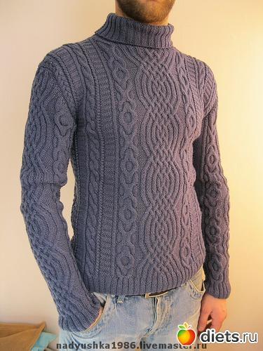 Вязание спицами свитер мужского 49