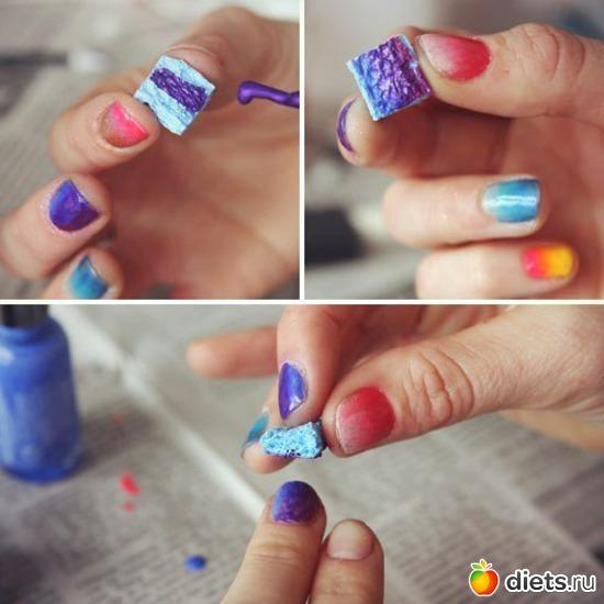 Дизайн ногтей с помощью губки