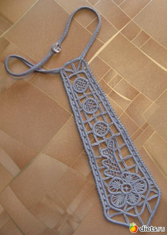 Вязаный галстук своими руками 96