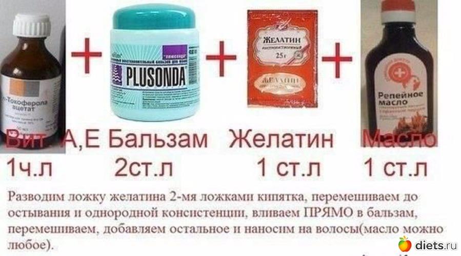 Маска для волос с желатина в домашних