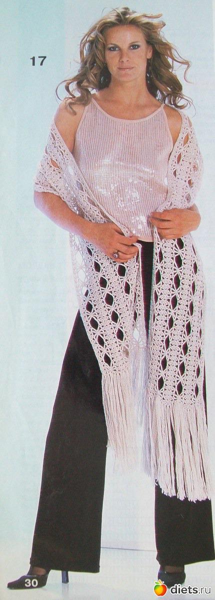 Размер палантина в готовом виде без бахромы 26 х... Белый ажурный палантин крючком. Для вязания крючком белого