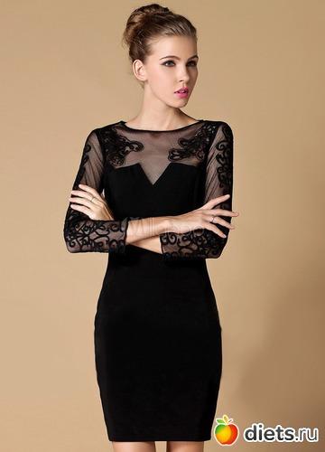 Фото маленького черного платья с кружевом