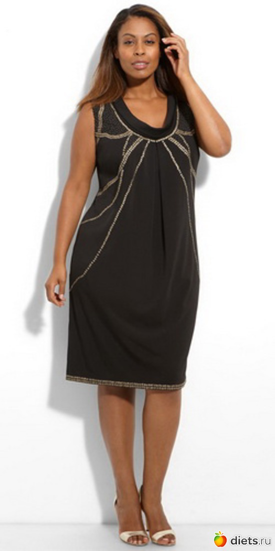 Нарядные платья для полных, вопреки распространенному мнению, могут быть украшены блестками