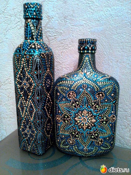 Точечная роспись на бутылках схемы