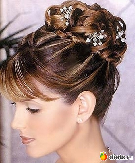 Свадебная прическа на средние волосы фото с челкой