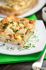 Нежный слоеный пирог из лаваша с сыром и зеленью. Вкусная коллекция