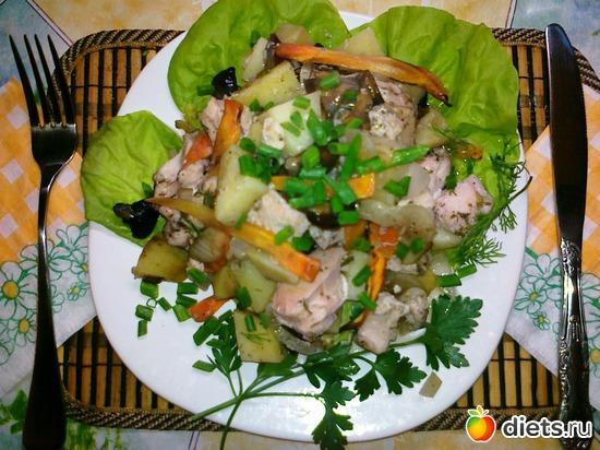 Куриная грудка с картофелем и грибами(запечённая в пакете для запекания), альбом: Мои блюда