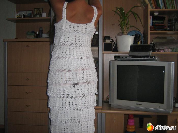 Платье из воланов схема крючок