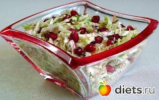 Салат с курицей-гранатом-листьями салата