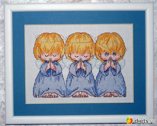 Вышивка с тремя ангелочками dimensions