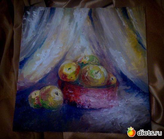 *Яблоки*, масло, грунтованый картон, 30х30, альбом: Вернисаж картин Дарьи Тундры  (Дарья Калита)