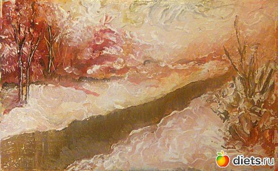 *Зимняя река*, акрил, картон, 20х12, альбом: Вернисаж картин Дарьи Тундры  (Дарья Калита)