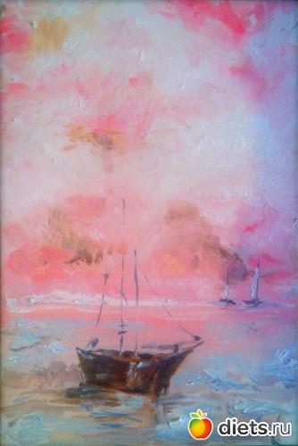 *Кораблики*, масло, грунтованный картон, А4, альбом: Вернисаж картин Дарьи Тундры  (Дарья Калита)