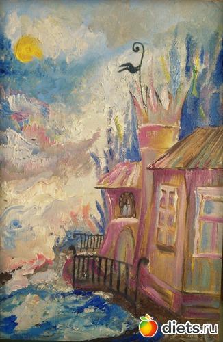 *Домик с флюгером*, масло, лен на подрамнике, А4, альбом: Вернисаж картин Дарьи Тундры  (Дарья Калита)