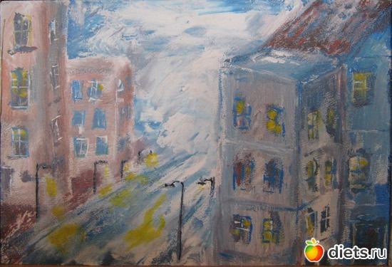 *Город в облаках*, акрил, грунтованный картон, А4, альбом: Вернисаж картин Дарьи Тундры  (Дарья Калита)