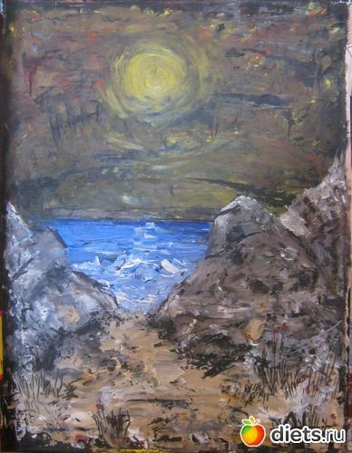 *Ночь на море*, масло, картон, 25х15, альбом: Вернисаж картин Дарьи Тундры  (Дарья Калита)
