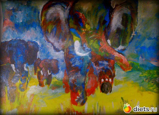 *Слоны*, продано - возможен повтор, альбом: Вернисаж картин Дарьи Тундры  (Дарья Калита)