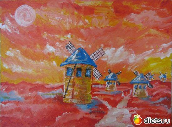 *Сон Дон Кихота*, акрил, грунтованный картон, А3, альбом: Вернисаж картин Дарьи Тундры  (Дарья Калита)