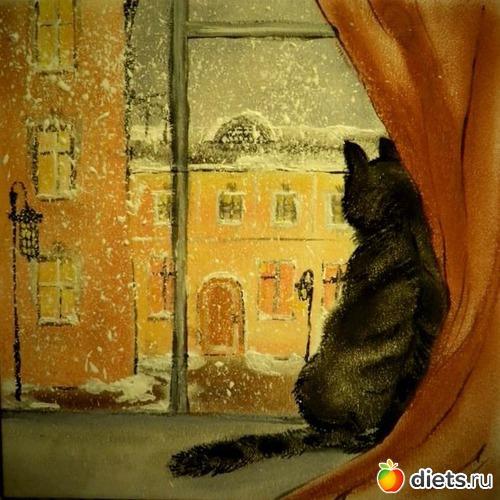 *Кошка на окошке*, продано - возможен повтор, альбом: Вернисаж картин Дарьи Тундры  (Дарья Калита)