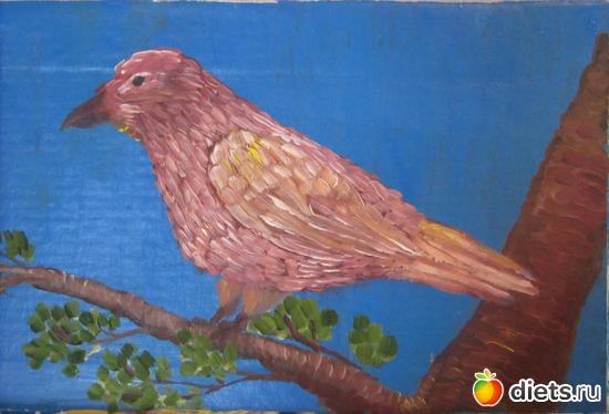 *Птичка*, масло, акрил, картон, альбом: Вернисаж картин Дарьи Тундры  (Дарья Калита)