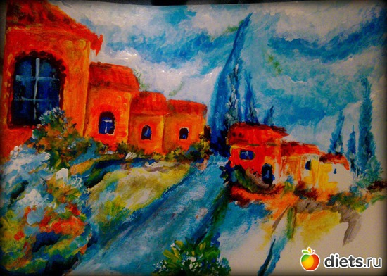 *Летний Прованс*, акрил, бумага, А4, альбом: Вернисаж картин Дарьи Тундры  (Дарья Калита)