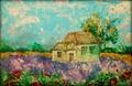 *Домик в деревне*, акрил, грунтованный картон, А4