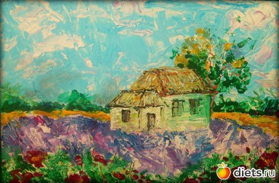 *Домик в деревне*, акрил, грунтованный картон, А4, альбом: Вернисаж картин Дарьи Тундры  (Дарья Калита)