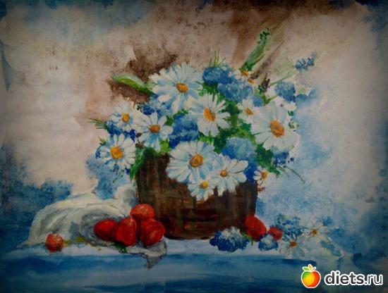 *Ромашки*, акварель, акрил, бумага, А4, альбом: Вернисаж картин Дарьи Тундры  (Дарья Калита)