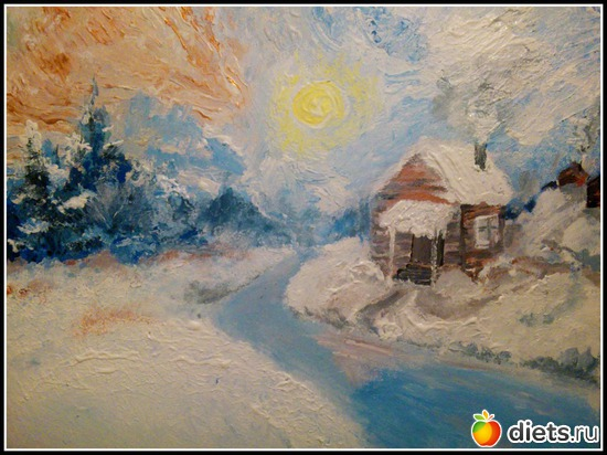 *Зимняя сказка*, акрил, грунтованный картон, А4, альбом: Вернисаж картин Дарьи Тундры  (Дарья Калита)