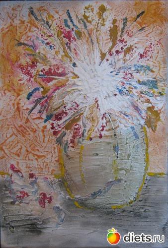 *Атомный букет*, акрил, пастель, грунтованный картон, А4, альбом: Вернисаж картин Дарьи Тундры  (Дарья Калита)