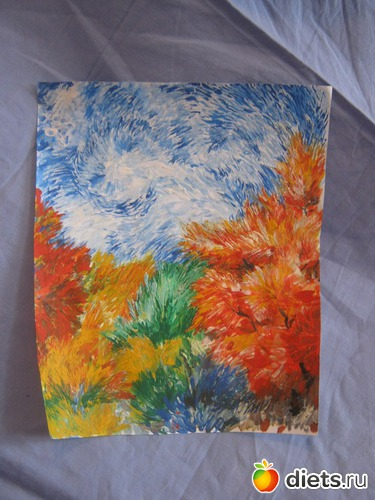 *Октябрь*, акрил, бумага, 20х15, альбом: Вернисаж картин Дарьи Тундры  (Дарья Калита)