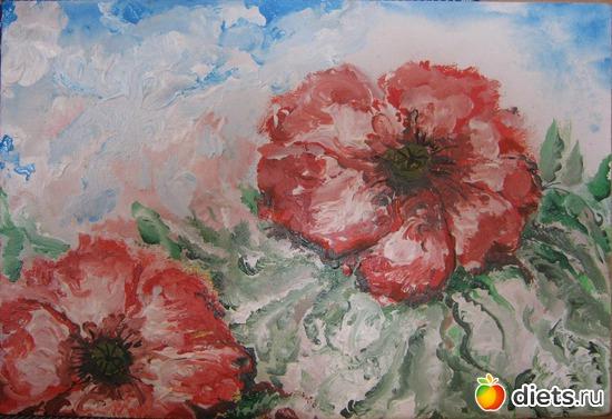 *Цветы*, акрил, грунтованный картон, А4, альбом: Вернисаж картин Дарьи Тундры  (Дарья Калита)