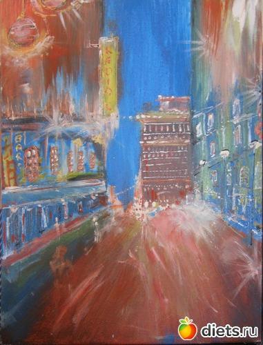*Ночной город*, акрил, грунтованный картон, А3, альбом: Вернисаж картин Дарьи Тундры  (Дарья Калита)