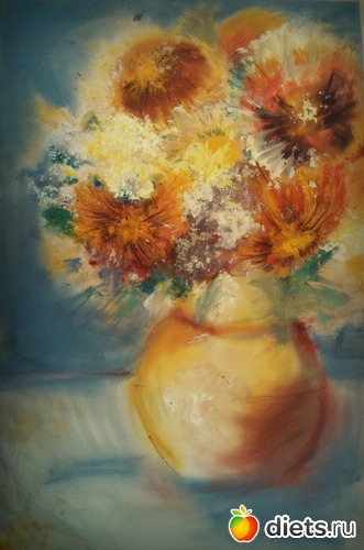 *Букет* пастель, акрил, холст на картоне  размер А3, альбом: Вернисаж картин Дарьи Тундры  (Дарья Калита)