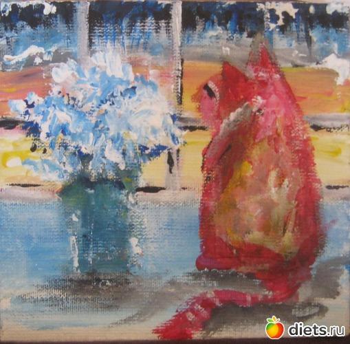 *Кошка с банкой*, акрил, холст на картоне, 10х10, альбом: Вернисаж картин Дарьи Тундры  (Дарья Калита)
