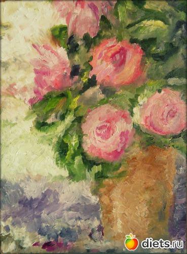 *Пионы*, масло, холст на картоне, А3, альбом: Вернисаж картин Дарьи Тундры  (Дарья Калита)