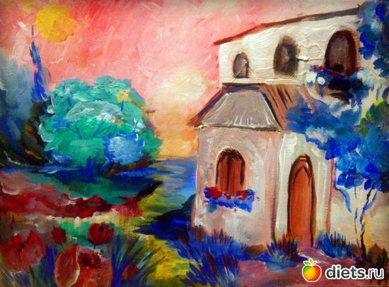 *Небо в розовых тонах*, акрил, грунтованный картон, А3, альбом: Вернисаж картин Дарьи Тундры  (Дарья Калита)
