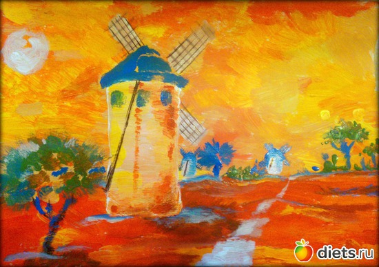 *Мельница*, акрил, бумага, А4, альбом: Вернисаж картин Дарьи Тундры  (Дарья Калита)