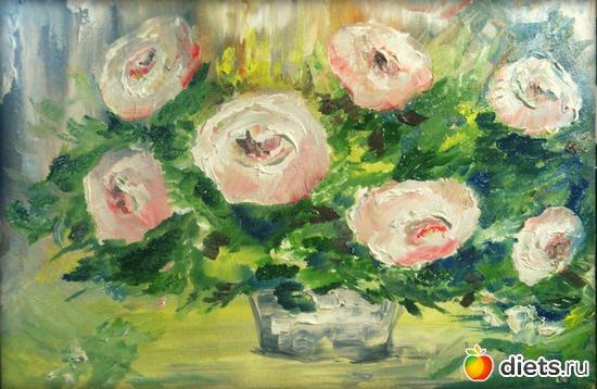 *Розы*, масло, грунтованный картон, А4, альбом: Вернисаж картин Дарьи Тундры  (Дарья Калита)